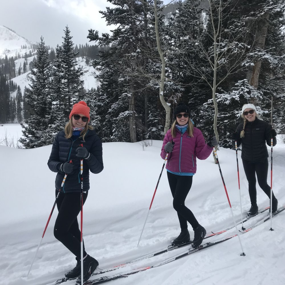 Haile and friends classic skiing at The Nordic Center